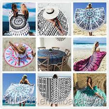 Alibaba China Supplier Microfiber Printed Indian Mandala Round Beach Towel with Turkish Tassel