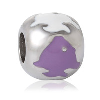 304 Stainless Steel European Style Charm Beads Drum Silver Tone Fish Carved White & Purple Enamel