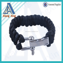 Ajustable Premium Paracord Survival Bracelet with Stainless Steel D Shackle Outdoor Sports