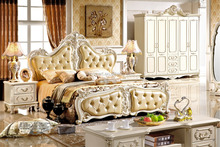 Luxury wooden European romantic style home bedroom furniture- Princess bed,