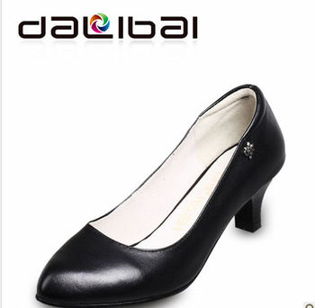 DALIBAI wholesale 2182 black genuine leather woman high-heel business dress shoes,lady high heel shoes