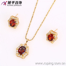 62518 Xuping luxury gold jewelry set to matching dress most popular imitation two pieces set micro pave cz stone