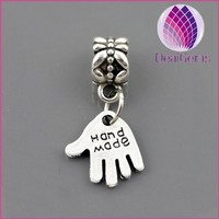 Hand shape with letter large hole beads charms for sale