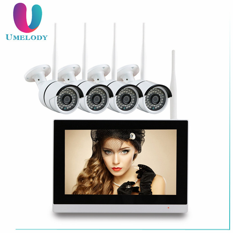 "Umelody 4CH Real time play back 720P 9"" touch screen One-way audio wireless ip camera nvr system"