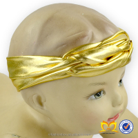 2015Hot Sale Infant Metalic Topknot Headdress Posh Baby Soft Turban Headband Latest Fashion Designer Baby Headbands