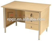 Rectangular school office teacher writing table, wooden top steel office desk