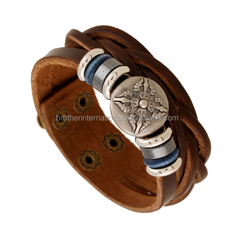 2016 Latest Design Roman Personalized Men Bracelets Alloy Jewelry Handmade Woven Leather Bracelets