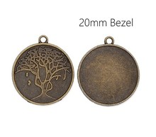 custom Antique Bronze Plated Carved Pendant Trays with 20mm Blank Bezel
