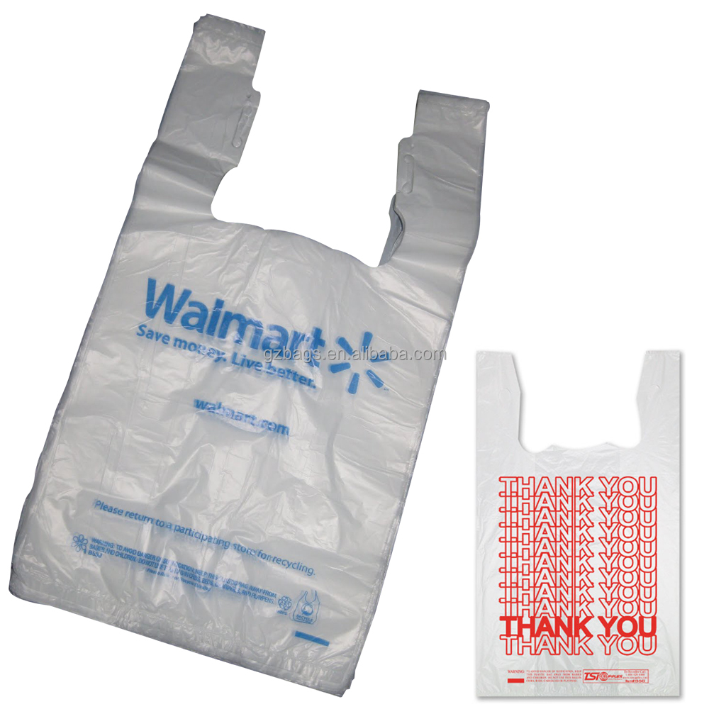 wholesale manufacturer custom printed with own logo supermarket transparent hdpe ldpe carrier t shirt packaging plastic bag