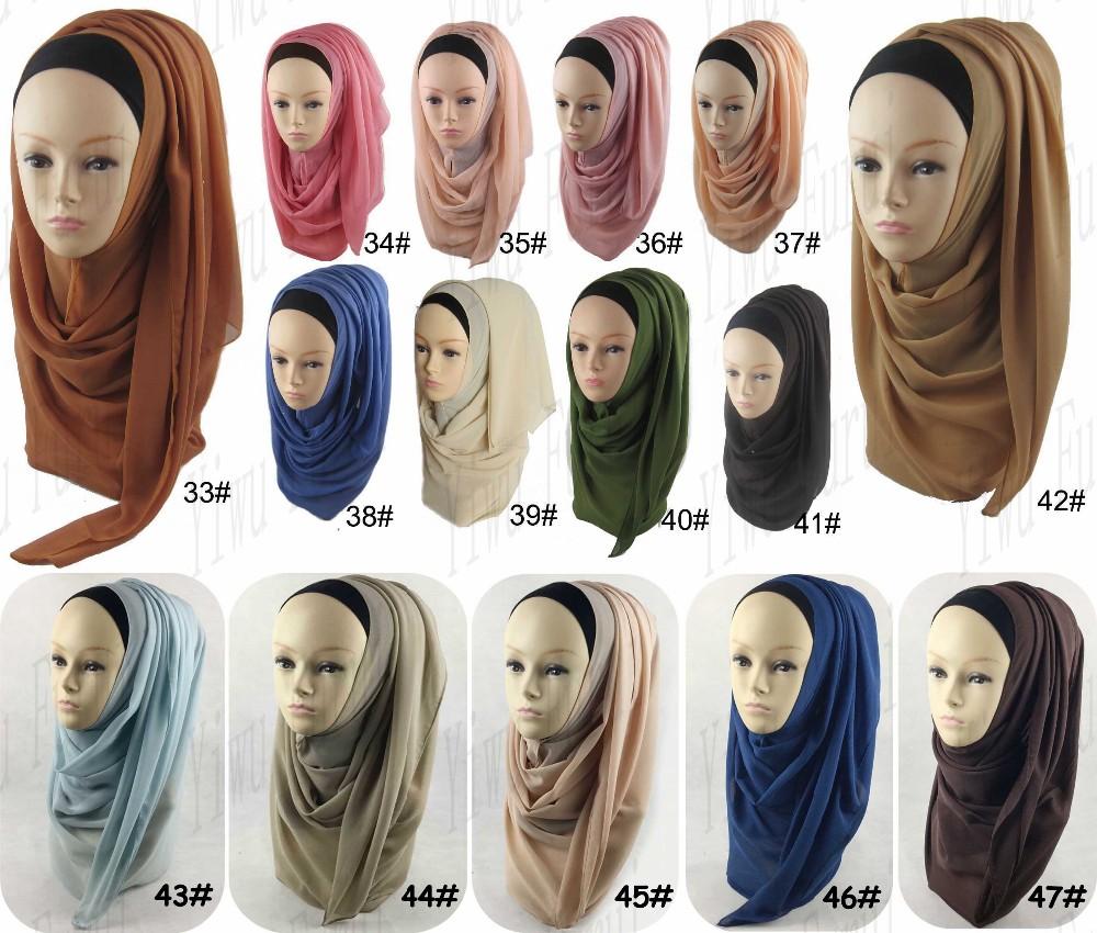 Beautiful trends plain long chiffon dubai hijab scarf arab style tudung hijab