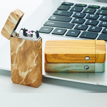 Windproof Flameless Electronic Pulse Arc Cigarette Lighter ,Wood Grain USB Lighter Dual ARC Rechargeable Cigarette Lighter