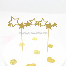 20 Party Decoration Gold Giltter Star Shaped Paper Cake Toppers