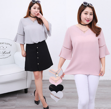 2016 new design Korean style short sleeve chiffon plus-size women's summer shirt