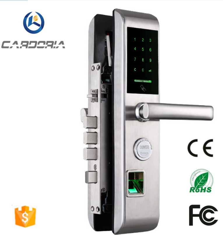 English-version bluetooth Fingerprint keyless Intelligent Lock Anti-theft Door Locks Silver 304 Stainless Door Lock