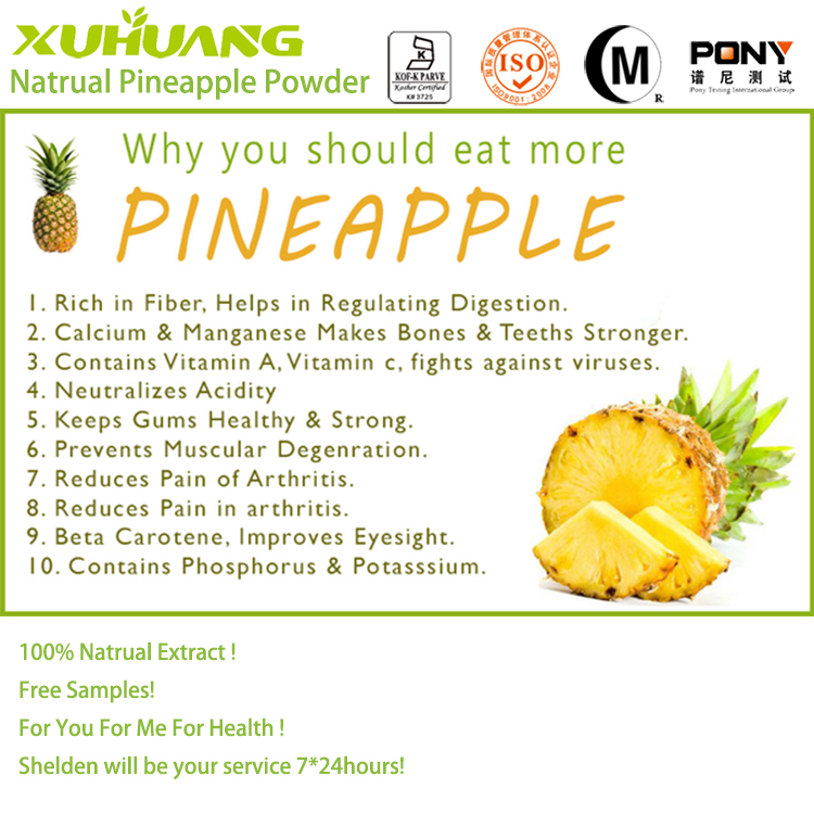 Kosher Halal and ISO 9001Factory Supply 100% Pure Natrual Pine apple <strong>powder</strong>