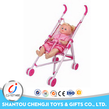 Hot selling play pretend toy lovely fashion 16 inch dolls with plastic cart