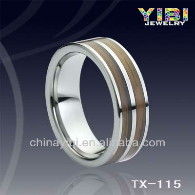 Double Grooved Wood Inlay Tungsten Ring,Travel Gift Rings,Wooden Wedding Rings