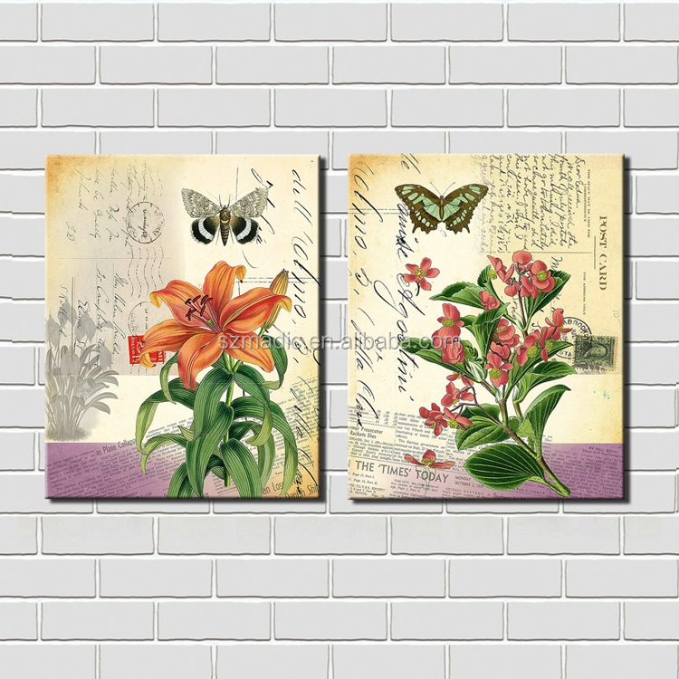 Modern Wall Art Home Decoration Reproduction Oil Painting 2 Panel Lily Orchid Butterfly Canvas Wall Paintings Ready to Hang