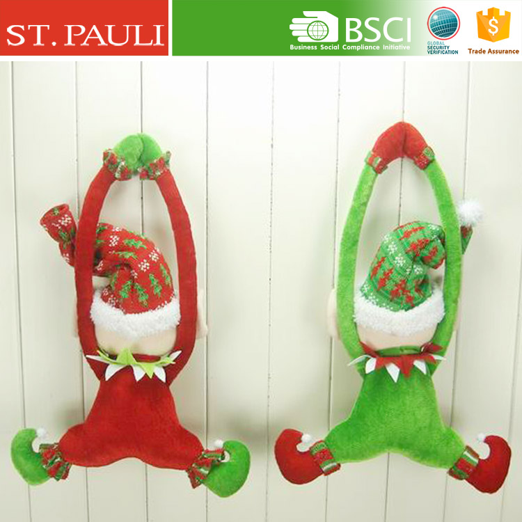 new design 16 inch funny stuffed red green velvet hanging elf doll xmas door hanger door knob hangers