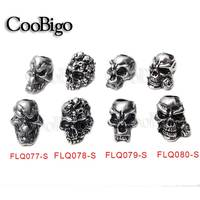 Charm Metal Skull Beads for Paracord Bracelet Knife Lanyards Jewelry Making Accessories #FLQ077/78/79/80-BR/B/AC/S