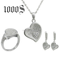 925 silver wedding jewelry, classical heart shape bridal jewelry set