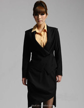 2014 lastest black T/R double breasted one buttons office uniforms for ladies