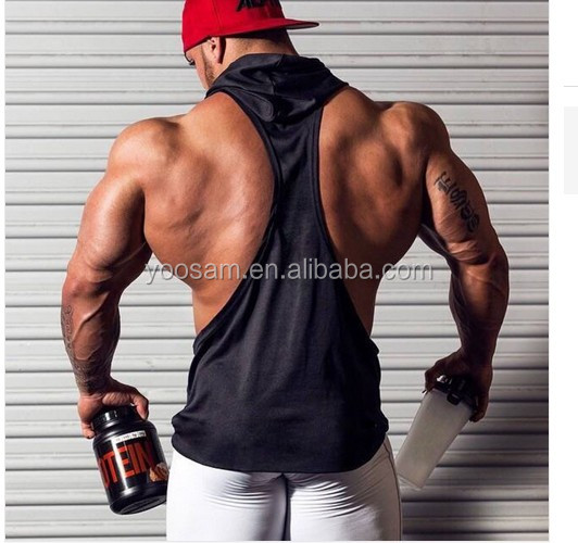 Factory direct wholesale custom mens plain gym stringer sleeveless hoodie with hood