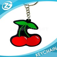 Customized Soft Rubber Red Cherries Key Chain & Key Ring