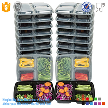 15-Pack 3 Compartment Disposable Bento Lunch Boxes with Lids