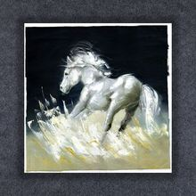 Abstract Art 100% Hand Painted Contemporary Running Horse White Color Oil Paintings
