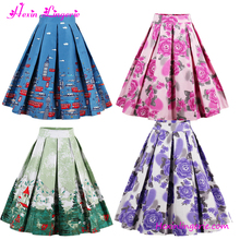 1950s Blue Printed Pleated Swing Summer Midi Mature Women In Skirts