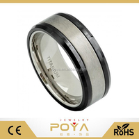 POYA Jewelry 8mm Titanium Wedding Band Ring Base & Center with High Polished Black Ceramic Beveled Edge