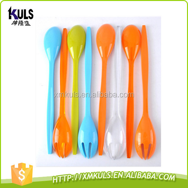 Reusable durable PS plastic salad fork and spoon kitchen utensil cutlery set