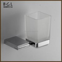 Bathroom Fittings Square Zinc Alloy And Glass Chrome Mounting Bathroom Fixtures Wall Mounted Tooth Brush Holder
