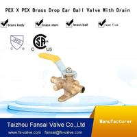 "Eco-friendly material 1/2"" PEX dropear brass ball valve with drain"
