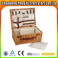 China factory supply wicker picnic basket for four person in outdoor
