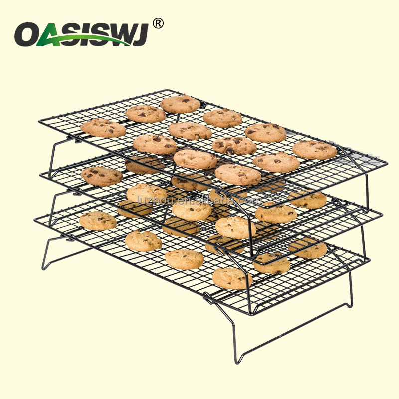 3 tiers metal bread cooling rack, foldable wire cooling rack YZ1223
