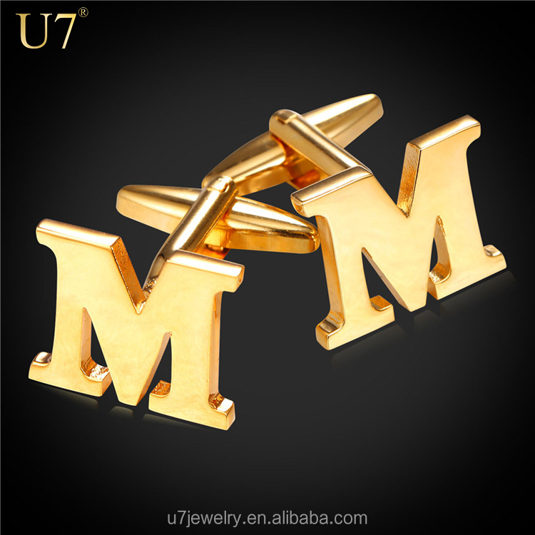 Men Cufflinks Alphabet Letter M French Nail Business Shirts Trendy Accessories yellow Real Gold/Platinum Plated Men Gift