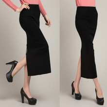 C70718A package hip thin pencil skirt of tall waist pure color knitting split skirts