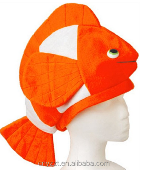 Stuffed Plush Clown Fish Hat Costume Party Cap/Realistic Plush Costume Headwear for Party