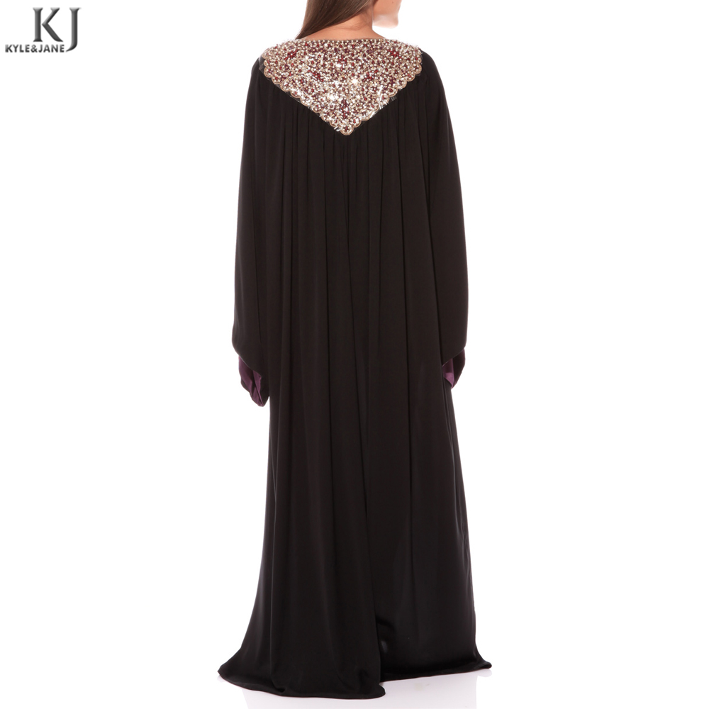 OEM front collar gold diamantes black kaftan large trumpet bell sleeve turkish jilbab cuff trimming jubah muslimah dubai fabric