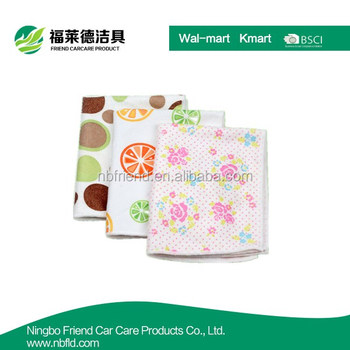Hot sale Kitchen usage Flower customized Microfiber Printed Cleaning Cloth