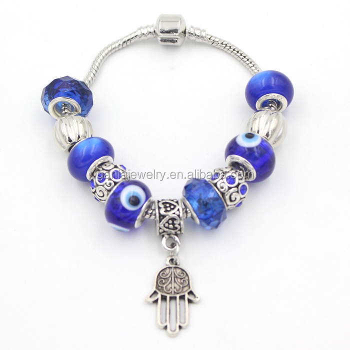 New Arrival European Bead Charm Bracelet,DIY Fashionable Jewelry Navy Blue Evil Eye Bead Hamsa Hand Charm Bracelets Wholesale