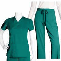2016m/Europe 100% cotton Hospital Medical Scrubs/V-neck100% cotton scrub suit/short sleeve/beautician uniform/ new style in 2016