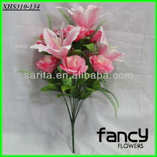 home&wedding decoration,13 heads pink artificial lily mixed rose wedding flower bouquet making