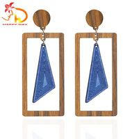 New Arrival Decoration Square Wood Earring
