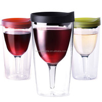 12oz double wall insulated acrylic plastic red wine glasses with lid and straw wholesale