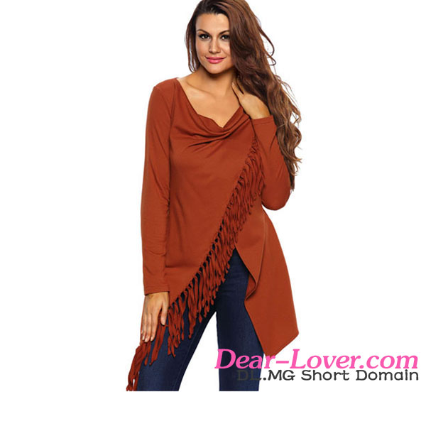 Orange Tassel Trim Crossover Poncho Top different styles of blouses