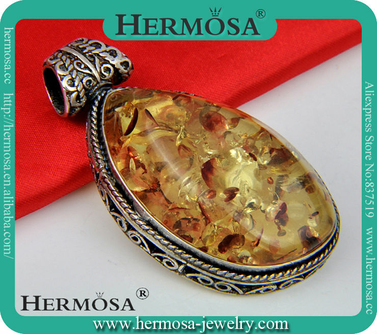 Sterling Silver Antique Cameos Genuine Amber Pendant Big Solitaire Pendant P009