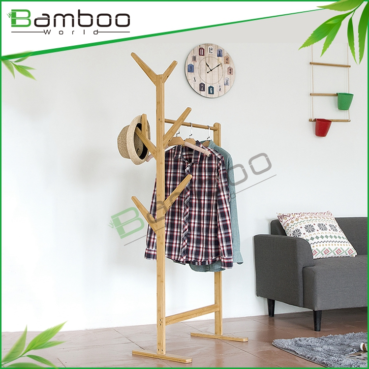 Bamboo tree shape coat rack , single pole clothes rack for office